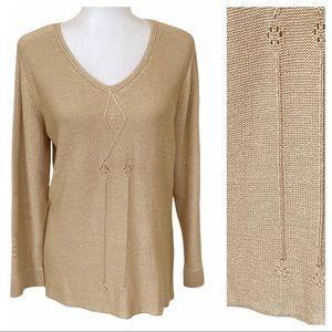 Sigrid Olsen Silk Knit Pointelle Flowers V Neck Sweater Contrast Rib Knit L